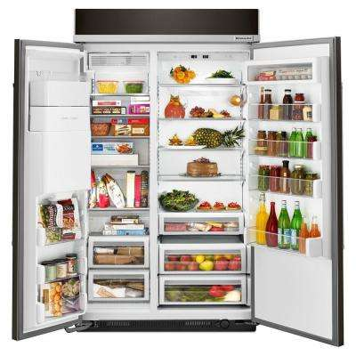 48 in. W 29.5 cu. ft. Built-In Side by Side Refrigerator in Black Stainless