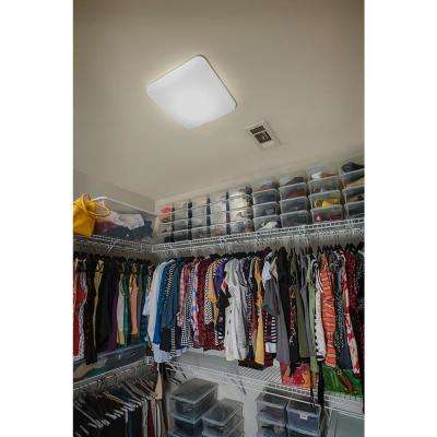 12 in. White LED Low-Profile Residential Square Flush Mount