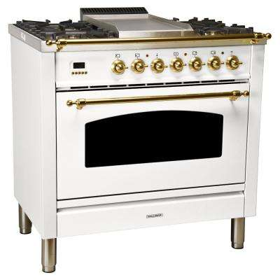 36 in. 3.55 cu. ft. Single Oven Italian Gas Range with True Convection, 5 Burners, Griddle, Brass Trim in White