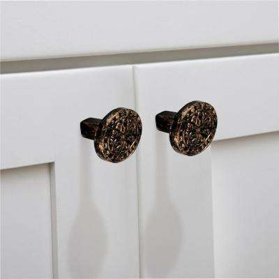 Decorative 1-1/2 in. (38mm) Antique Brass Patina Cabinet Knob