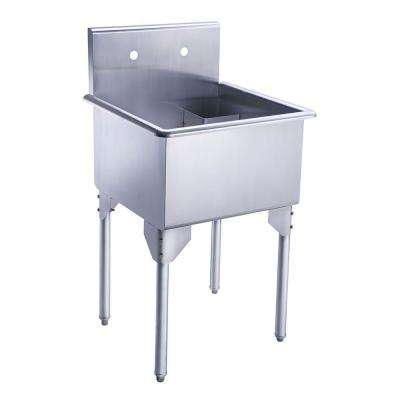Pearlhaus All-in-One Freestanding Stainless Steel 23-1/8 in. 2-Hole Single Bowl Kitchen Sink in Brushed Stainless Steel