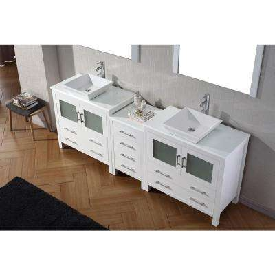 Dior 91 in. W Bath Vanity in White with Stone Vanity Top in White with Square Basin and Mirror and Faucet