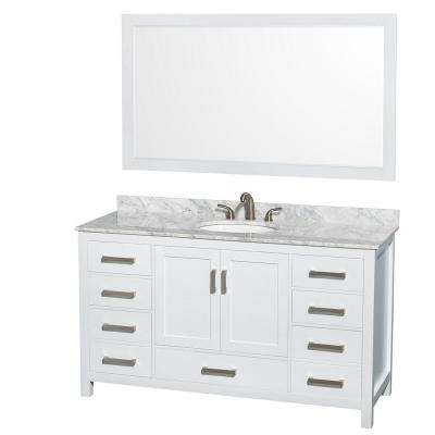 Sheffield 60 in. Vanity in White with Marble Vanity Top in Carrara White and 58 in. Mirror