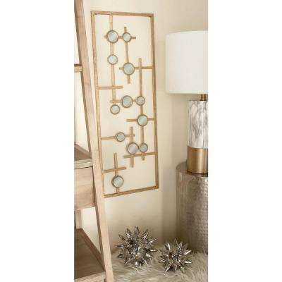 34 in. x 12 in. Modern Decorative Abstract Iron and Mirror Wall Panel (Set of 3)