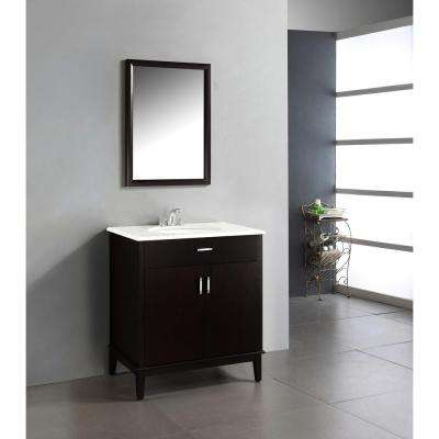 Urban Loft 30 in. Vanity in Espresso Brown with Quartz Marble Vanity Top in White and Under-Mounted Oval Sink
