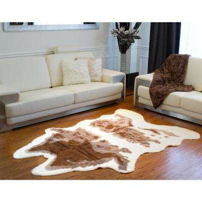 Faux Brown/White 5 ft. x 8 ft. Cowhide Rug