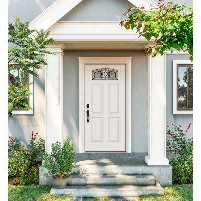 36 in. x 80 in. Camber Top Sanibel Primed Steel Prehung Right-Hand Inswing Front Door w/Brickmould