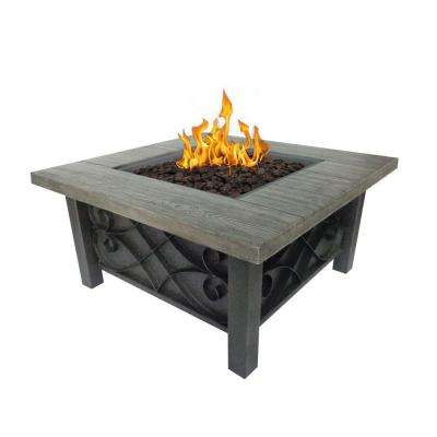 Marbella 34 in. Square Stainless Steel Propane Fire Pit