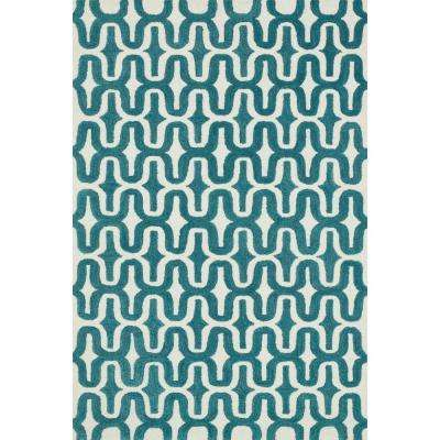 Weston Lifestyle Collection Ivory/Teal 3 ft. 6 in. x 5 ft. 6 in. Area Rug