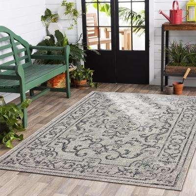 Sun Shower Beige/Black 5 ft. x 8 ft. Indoor/Outdoor Rectangular Area Rug
