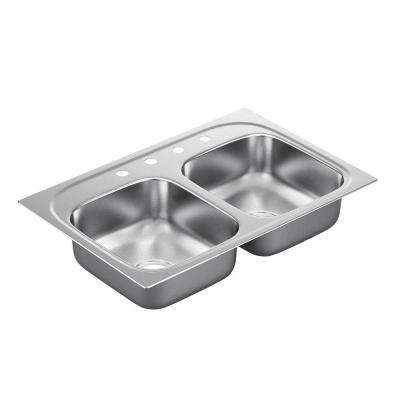2200 Series Drop-In Stainless Steel 33 in. 4-Hole Double Bowl Kitchen Sink