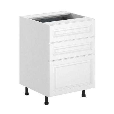 24x34.5x24.5 in. Birmingham 3-Drawer Base Cabinet in White Melamine and Door in White