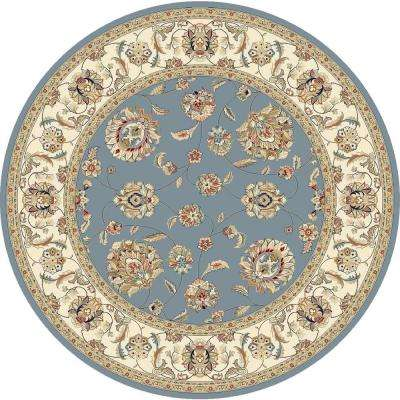 Judith Light Blue/Ivory 5 ft. 3 in. x 5 ft. 3 in. Round Indoor Area Rug
