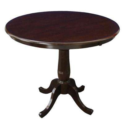 Solid Wood 36 in. Round 36 in. High Pedestal Table in Rich Mocha