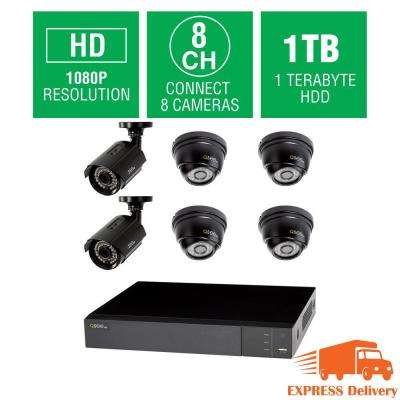 8-Channel 1080p 1TB Full HD Surveillance System with (2) 1080p Bullet Cameras and (4) 1080p Dome Cameras