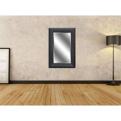 Reflection 24 in. x 36 in. Bevel Style Framed Black Woodgrain Finish Mirror