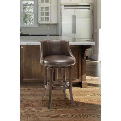 Napa Valley 36 in. Swivel Cushioned Bar Stool in Dark Brown Cherry Finish