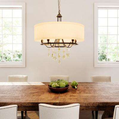 Flourish Collection 20.25 in. 4-Light Cognac Bronze Chandelier with Linen Shade