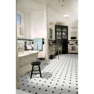 Black and White Marble Paver 12 ft. Wide Residential Vinyl Sheet