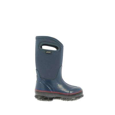Classic High Handles Kids 10 in. Size 7 Navy Rubber with Neoprene Waterproof Boots