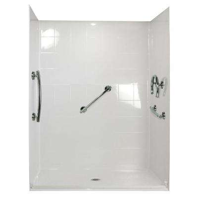 Freedom 33 in. x 60 in. x 77-3/4 in. Barrier Free Roll-In Shower Kit in White with Center Drain