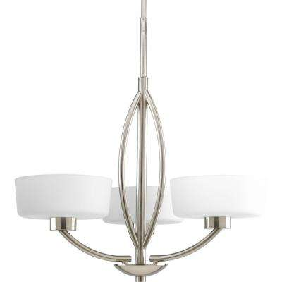 Calven Collection 3-Light Brushed Nickel Chandelier