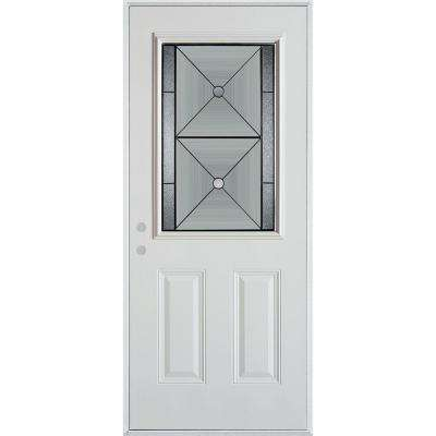 32 in. x 80 in. Bellocchio Patina 1/2 Lite 2-Panel Prefinished White Right-Hand Inswing Steel Prehung Front Door