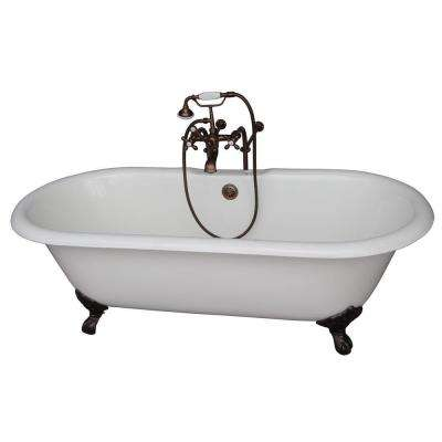 5.6 ft. Cast Iron Imperial Feet Double Roll Top Tub in White with Oil Rubbed Bronze Accessories