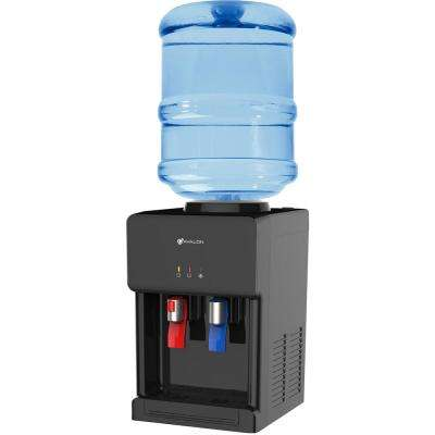 Premium Hot/Cold Top Loading Countertop Water Cooler Dispenser with Child Safety Lock, Black