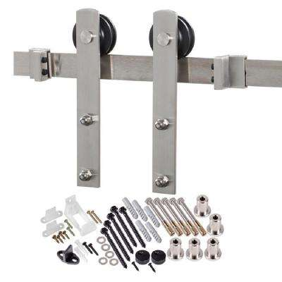 78.75 in. Stainless Steel Straight Strap Barn Door Hardware