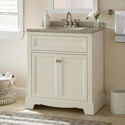 Windsor Park 31 in. W x 19 in. D Bathroom Vanity in Cream with Solid Surface Vanity Top in Autumn with White Sink