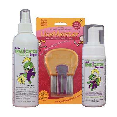 Lice ERADICATOR Natural and Non-toxic Mousse Treatment, Repel Protection Spray and LiceMeister Lice Comb Kit