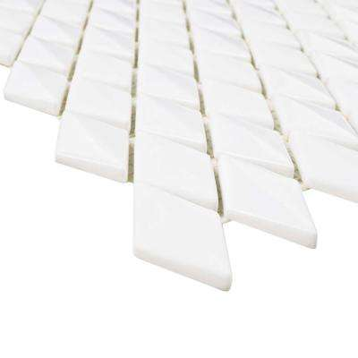 Expressions Beveled Diamond White 11-5/8 in. x 12 in. x 7 mm Glass Mosaic Tile