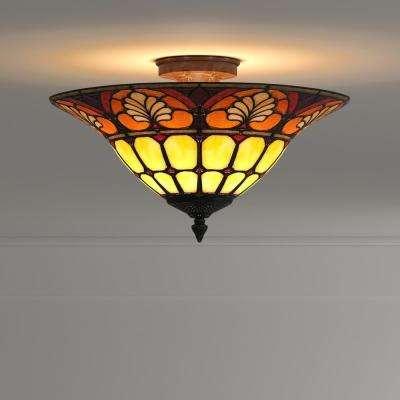 3-Light Antique Golden Sand Dylan Tiffany with Semi-Flush Mount Light