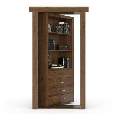 36 in. x 80 in. Flush Mount Assembled Dresser Door Alder Medium Brown Stained Right-Hand Inswing