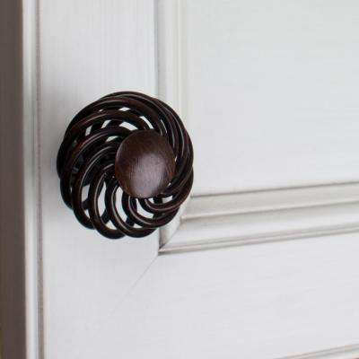 1-1/2 in. Dia Oil Rubbed Bronze Round Birdcage Cabinet Knob (10-Pack)