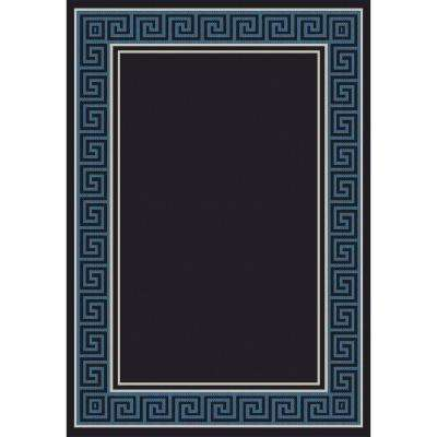 Piazza Blue/Black 5 ft. 3 in. x 7 ft. 7 in. Indoor/Outdoor Area Rug