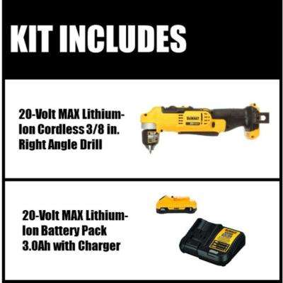 20-Volt MAX Lithium-Ion Cordless 3/8 in. Right Angle Drill (Tool-Only) with Free 20-Volt MAX Battery 3.0Ah & Charger