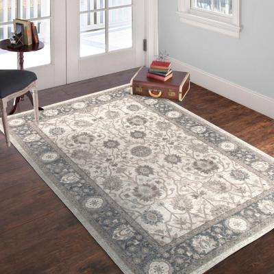 Vintage Floral II Ivory Dark Grey 8 ft. x 10 ft. Area Rug