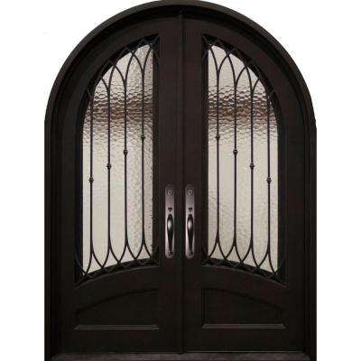 74 in. x 97.5 in. Concord Classic 3/4 Lite Painted Oil Rubbed Bronze Wrought Iron Prehung Front Door
