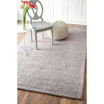 Chunky Woolen Cable Light Grey 9 ft. x 12 ft. Area Rug