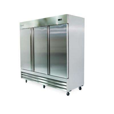 72 cu. ft. 3-Door Commercial Upright Freezer in Stainless Steel