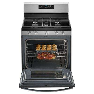 5.0 cu. ft. Gas Range with Self-Cleaning Oven and Center Oval Burner in Stainless Steel
