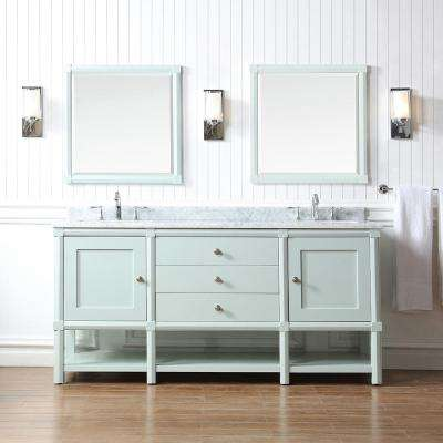 Sutton 72 in. W x 22 in D Vanity in Rainwater with Marble Vanity Top in White/Grey with White Basins