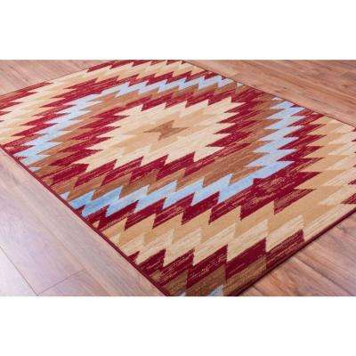 Miami Alamo Southwestern Traditional Red 8 ft. x 10 ft. Area Rug