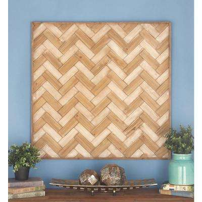 32 in. x 32 in. Wooden Wall Decor in Stained Brown