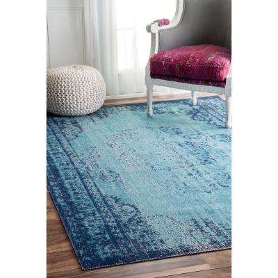 Vance Distressed Vintage Blue 5 ft. x 7 ft.  Area Rug