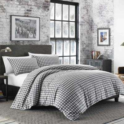 Preston Gray Plaid Cotton Blend Comforter Set
