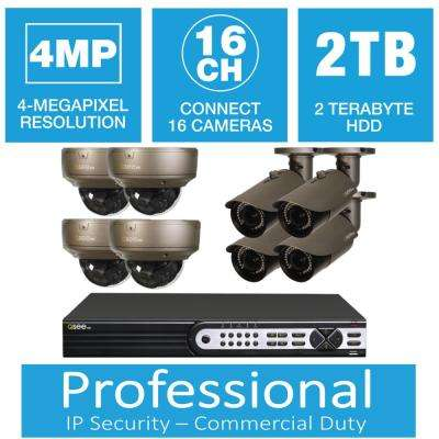 16-Channel IP Indoor/Outdoor Surveillance 2TB NVR System with (4) 4MP Bullet Cameras and (4) 1080p Dome Cameras