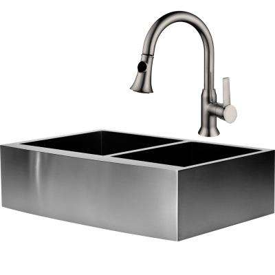 Hardy All-in-One Undermount Stainless Steel 33 in. Double Bowl Apron Sink with Faucet